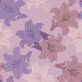 Διακοσμητικός ζωηρόχρωμος κρίνος λουλουδιών Έκδοση Β Floral άνευ ραφής σχέδιο για το σχέδιο Στοκ Εικόνες