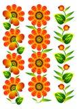Διακοσμητικός λαός συλλογής στοιχείων λουλουδιών Στοκ Εικόνες