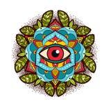 Διακοσμητικός peony, αυξήθηκε λουλούδι με ένα μάτι της πρόνοιας Στοκ Εικόνα