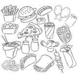 Διακοσμητικό άνευ ραφής σχέδιο γρήγορου φαγητού Συρμένο χέρι διανυσματικό υπόβαθρο γρήγορου φαγητού στο ύφος τέχνης γραμμών ελεύθερη απεικόνιση δικαιώματος