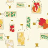 Διακοσμητικό άνευ ραφής σχέδιο μπουκαλιών κουζινών απεικόνιση αποθεμάτων