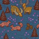 Διακοσμητικό άνευ ραφής σχέδιο με τα άγρια ζώα από Στοκ εικόνες με δικαίωμα ελεύθερης χρήσης