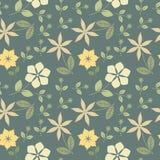 Διακοσμητικό άνευ ραφής σχέδιο με τα αφηρημένα λουλούδια Στοκ Εικόνα