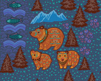 Διακοσμητικό άνευ ραφής σχέδιο με τις αρκούδες και τα ψάρια Στοκ εικόνες με δικαίωμα ελεύθερης χρήσης