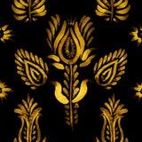 Διακοσμητικό άνευ ραφής σχέδιο, χρυσά λουλούδια Στοκ Φωτογραφία