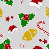 Διακοσμητικό άνευ ραφής υπόβαθρο εικονιδίων Χριστουγέννων απεικόνιση αποθεμάτων