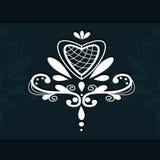 Διακοσμητικό έμβλημα καρδιών στοιχείων δαντελλών Στοκ εικόνες με δικαίωμα ελεύθερης χρήσης