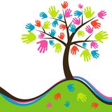 Διακοσμητικό αφηρημένο δέντρο χεριών, διάνυσμα Στοκ φωτογραφίες με δικαίωμα ελεύθερης χρήσης