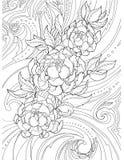 Διακοσμητικό, αφηρημένο σχέδιο των peony λουλουδιών και των σχεδίων, tatt Στοκ Φωτογραφίες