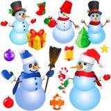διακοσμητικό διάνυσμα χιονανθρώπων αντικειμένων Χριστουγέννων ελεύθερη απεικόνιση δικαιώματος