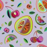 Διακοσμητικό διανυσματικό άνευ ραφής σχέδιο των φρούτων Στοκ Φωτογραφία