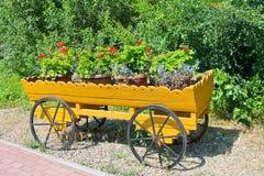 Διακοσμητικό κάρρο με τα λουλούδια Στοκ Εικόνα