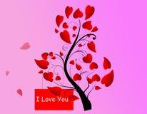 Διακοσμητικό κόκκινο δέντρο καρδιών Στοκ Εικόνες