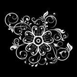 Διακοσμητικό λουλούδι με τους filigree κλάδους Άσπρη διακόσμηση στο μαύρο υπόβαθρο απεικόνιση αποθεμάτων