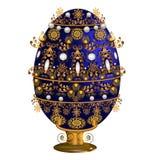 Διακοσμητικό μπλε αυγών στη στάση με τα floral μοτίβα στο περίγραμμα s Στοκ εικόνα με δικαίωμα ελεύθερης χρήσης