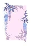 Διακοσμητικό ορθογώνιο πλαίσιο με τα floral στοιχεία watercolor και το ιώδες υπόβαθρο Στοκ φωτογραφίες με δικαίωμα ελεύθερης χρήσης