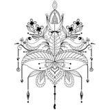 Διακοσμητικό λουλούδι λωτού Zentangle απεικόνιση αποθεμάτων