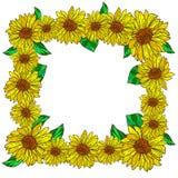 Διακοσμητικό πλαίσιο λουλουδιών με τους ηλίανθους Στοκ Φωτογραφίες
