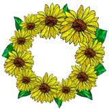 Διακοσμητικό πλαίσιο λουλουδιών με τους ηλίανθους Στοκ φωτογραφία με δικαίωμα ελεύθερης χρήσης