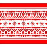 Διακοσμητικό πρότυπο σχεδίων Χριστουγέννων στο κόκκινο Στοκ Φωτογραφίες