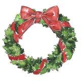Διακοσμητικό στεφάνι δέντρων πεύκων Χριστουγέννων με το κόκκινο τόξο ελεύθερη απεικόνιση δικαιώματος