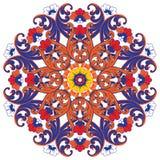 Διακοσμητικό στρογγυλό πολύχρωμο floral σχέδιο Στοκ Εικόνες