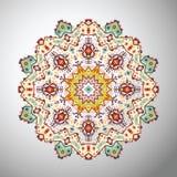 Διακοσμητικό στρογγυλό ζωηρόχρωμο γεωμετρικό σχέδιο στο των Αζτέκων ύφος διανυσματική απεικόνιση