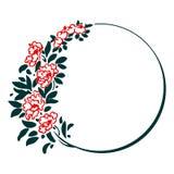 Διακοσμητικό στρογγυλό πλαίσιο με τα κόκκινα λουλούδια απεικόνιση αποθεμάτων