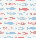Διακοσμητικό συρμένο σχέδιο με το αστείο άνευ ραφής θαλάσσιο υπόβαθρο ψαριών ελεύθερη απεικόνιση δικαιώματος