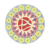 Διακοσμητικό συρμένο χέρι mandala με το διαφορετικό γεωμετρικό στοιχείο διανυσματική απεικόνιση