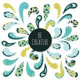 Διακοσμητικό σχέδιο διακοσμήσεων Doodle Να είστε δημιουργικός Εμπνευσμένο πρότυπο αφισών ελεύθερη απεικόνιση δικαιώματος