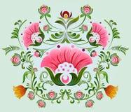 Διακοσμητικό σχέδιο λουλουδιών Khokhloma μια ρωσική ζωγραφική ύφους απεικόνιση αποθεμάτων