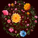 Διακοσμητικό σχέδιο λουλουδιών Khokhloma μια ρωσική ζωγραφική ύφους διανυσματική απεικόνιση