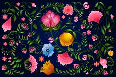 Διακοσμητικό σχέδιο λουλουδιών Khokhloma μια ρωσική ζωγραφική ύφους ελεύθερη απεικόνιση δικαιώματος