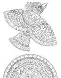 Διακοσμητικό σχέδιο ενός πουλιού και των σχεδίων, γραφική παράσταση, δερματοστιξία Στοκ εικόνα με δικαίωμα ελεύθερης χρήσης