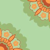 Διακοσμητικό σχέδιο σκιαγραφιών λουλουδιών γωνιών, ζωηρόχρωμο απομονωμένο λουλούδια υπόβαθρο γωνιών Στοκ εικόνα με δικαίωμα ελεύθερης χρήσης