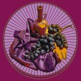 Διακοσμητικό σύντομο χρονογράφημα, συμβολίζοντας το κρασί και τα σταφύλια απεικόνιση αποθεμάτων