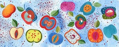 Διακοσμητικό υπόβαθρο μήλων Ελεύθερη απεικόνιση δικαιώματος