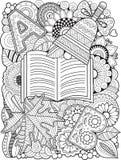 Διακοσμητικό υπόβαθρο των φύλλων φθινοπώρου Διανυσματικό χρωματίζοντας βιβλίο για τον ενήλικο Στοκ εικόνα με δικαίωμα ελεύθερης χρήσης