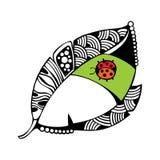 Διακοσμητικό φύλλο με το ladybug Στοκ εικόνα με δικαίωμα ελεύθερης χρήσης