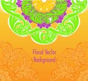 Διακοσμητικό floral κίτρινο υπόβαθρο διακοσμήσεων Διανυσματικό πρότυπο FO Στοκ Φωτογραφίες