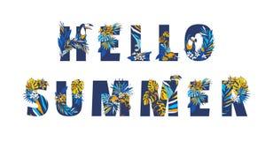 Διακοσμητικό floral τροπικό τροπικό ΚΑΛΟΚΑΙΡΙ κειμένων αποσπάσματος εγγραφής σχεδίων ΓΕΙΑ ΣΟΥ ελεύθερη απεικόνιση δικαιώματος