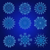 Διακοσμητικό Snowflakes διανυσματικό σύνολο Στοκ φωτογραφία με δικαίωμα ελεύθερης χρήσης