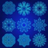 Διακοσμητικό Snowflakes διανυσματικό σύνολο Στοκ Εικόνα