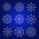 Διακοσμητικό Snowflakes διανυσματικό σύνολο Στοκ Φωτογραφίες