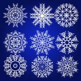 Διακοσμητικό Snowflakes διανυσματικό σύνολο Στοκ εικόνες με δικαίωμα ελεύθερης χρήσης