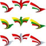 Διακριτικά Ουγγαρία Λιθουανία Αυστρία συμβόλων σημαδιών σημαιών μυγών πουλιών ελεύθερη απεικόνιση δικαιώματος