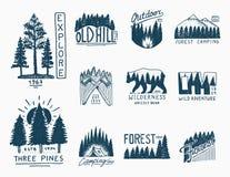 Διακριτικά στρατοπέδευσης, κωνοφόρο δασικό και ξύλινο λογότυπο βουνών άγριο δάσος τραγουδιού φύσης αγάπης αγριόγαλλων τοπία με τα Στοκ Φωτογραφίες