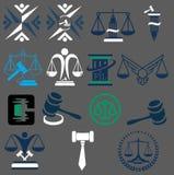 Διακριτικά του νόμου και νομικός Σφυρί του δικαστή, απεικονίσεις διανυσματική απεικόνιση