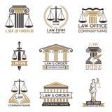 Διακριτικά του νόμου και νομικός Σφυρί του δικαστή, νομικές μαύρες απεικονίσεις κώδικα των ετικετών για τη νομολογία Νομικό διάνυ απεικόνιση αποθεμάτων